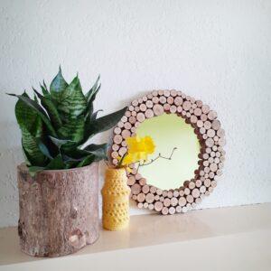 Boomstam spiegel, ronde houten spiegel