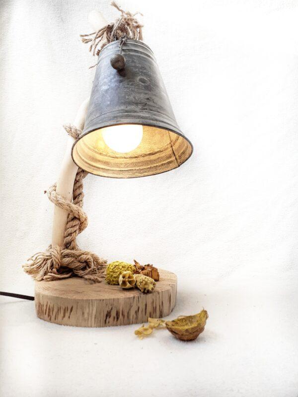 boomstam tafellamp, houten bureaulamp